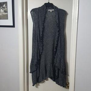 Gray sharkbite hem sweater vest